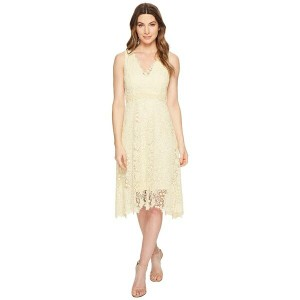 ドナモーガン レディース ワンピース トップス Sleeveless Lace V-Neck Fit and Flare with Waist Detail Pale Yellow