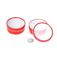 (120ml, Red) - Mimi Pack 120ml Shallow Round Tin Can Clear Window Top Lid Steel Containers For...