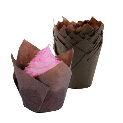 Tulip Cupcake Liners Baking Cups - 100Pcs, (Brown) - Fluted Style Standard Size Bake Cup Fits Jumbo...