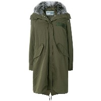 Yves Salomon Army hooded long quilted parka - グリーン