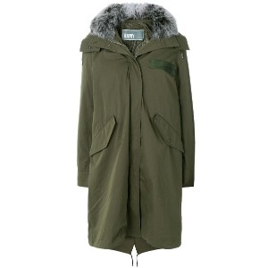 Army Yves Salomon hooded long quilted parka - グリーン
