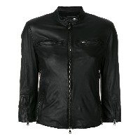 R13 fitted leather jacket - ブラック