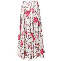 Rochas floral embroidered flared skirt - ホワイト