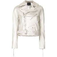Aula belted leather jacket - メタリック