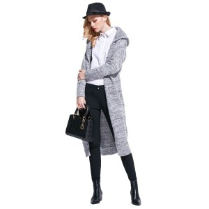 Hooded Long Sleeves Longline Cardigan With Pockets