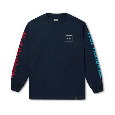 HUF Domestic L/S Shirt Navy S Tシャツ 送料無料