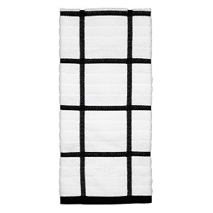 All-Clad Textiles 100-Percent Cotton Checked Kitchen Towel, Black by All Clad Textiles