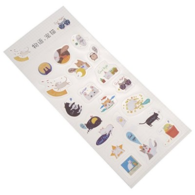 (Cute Cats) - Cute Dog Cat Stickers Flower Star Diary Scrapbooking Labels Decorative Card Tags