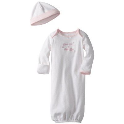 Little Me Girl Thank Heaven Gown and Hat - Light Pink - 0-3 Months by Little Me