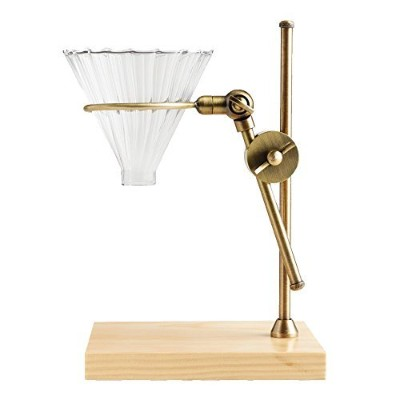 Brass Pour Over Drip Coffee Maker Dripper Stand with Wood Base by World Market