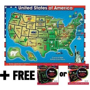 Wooden USA Map Sound Puzzle (40 Pieces) + FREE Melissa & Doug Scratch Art Mini-Pad Bundle [07153]...
