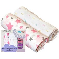 100% Organic Cotton Swaddle Blanket & Stroller Clip Set - Extremely Soft & Breathable - Also Use As...