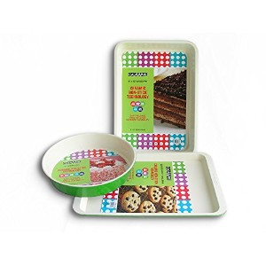 casaWare 3 Piece Bakeware Set withラウンドパン グリーン 1-9904-2G