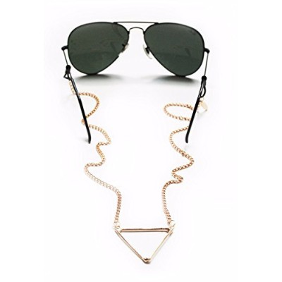 Sintillia Tri-Peace Backlace Sunglass Strap, Glasses Chain, Eyeglass Cord, Gold with Clear...