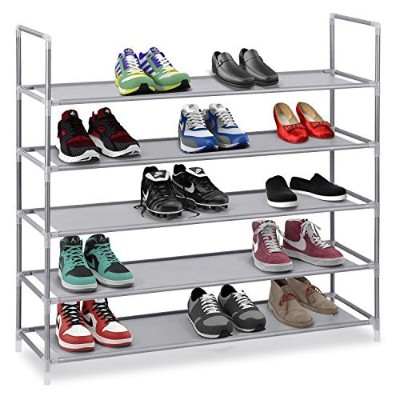 Halter 5 Tier Stainless Steel Shoe Rack / Shoe Storage Stackable Shelves - Holds 15-20 Pairs Of...