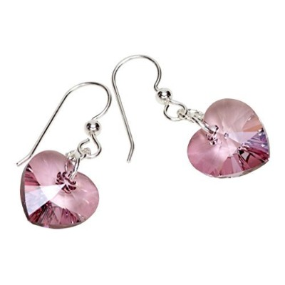Designs by Nathan、14.4MM Xilion Heartファセットクリスタルペンダント、アンティークpink-color Crystalsスワロフスキーから、快適Earwireダン...