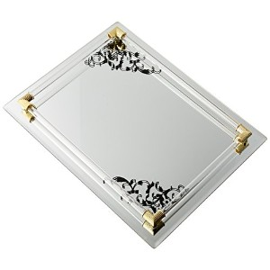 Accents by Jay Mirror Vanity Tray with Black Scroll Design and Gold Accents,12 by 9-Inch by Accents...