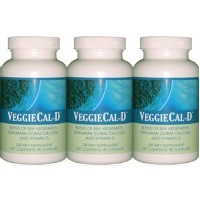 3 VeggieCal-D: Sea Vegetables, Okinawan Coral Calcium, Vitamin D3 - 3 Bottles, 90 Veg Caps Ea by...