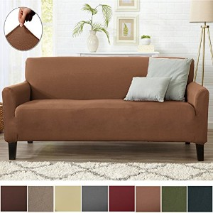 (Sofa, Toffee) - Form Fit Stretch, Stylish Furniture Cover/Protector Featuring Lightweight Twill...