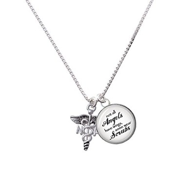 "Caduceus – NP Angels Wear ScrubsガラスドームNecklace , 18 "" + 2 """