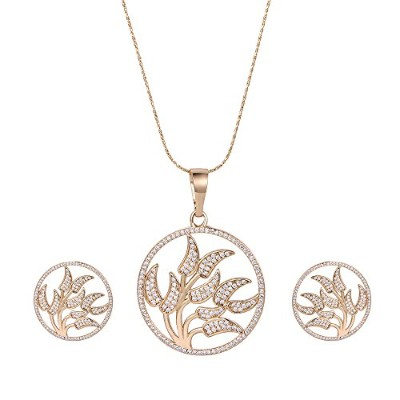 XUPING Fashion White Cubic Zirconia Pendant Necklaces Women Tree of Life Jewellery Set Party...