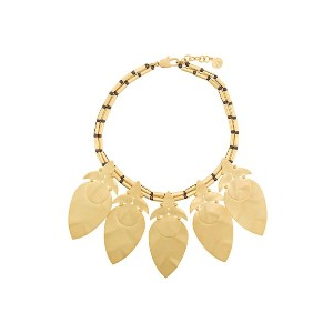Tory Burch hammered leaf necklace - メタリック