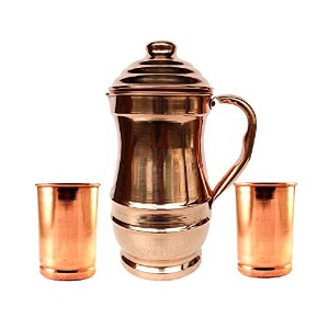 Rastogi Handicrafts Pure Copper Maharaja Jug with 2ガラスDrink Ware Setピッチャー急送タンブラー/フリー