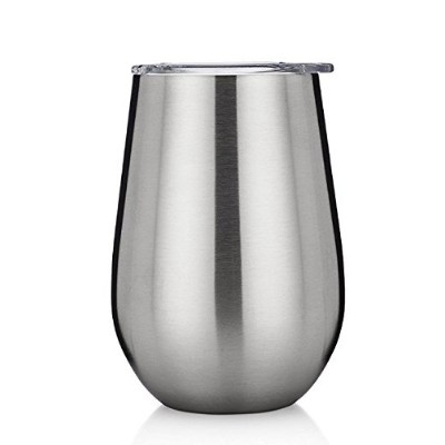 Stainless Steel Wine Glasses with Lid - Set of 2-350ml Double Walled Insulated Outdoor Wine...