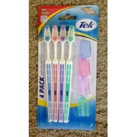 Tek - 4 Toothbrushes with Toothbrush Covers by Tek