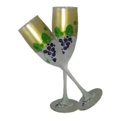 Golden Hill Studio Champagne Flute Glassesハンドペイントin the USA by American artists-setの2-grapes ' n...