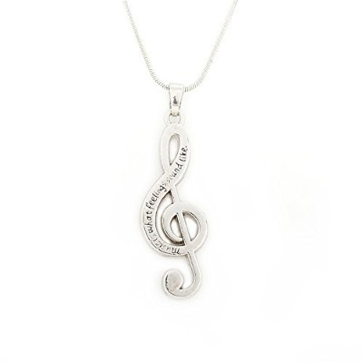 Musical Noteペンダントwith Music Is What Feelings Sound Like、メタルチェーンネックレス、ギフトforユニセックス大人用