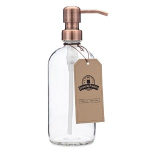 Clear Glass Pint Jar Soap and Lotion Dispenser with Metal Pump (Copper)