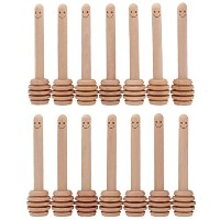 - Mini Honey Dipper 3.2 Inch Wood Sticks with Cute Smile Face for Honey Jar Pot Dispense by Bstean