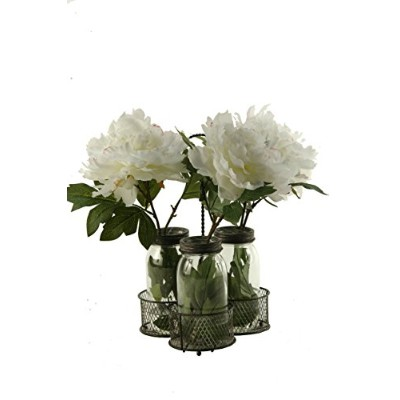 D & W Silksクリーム/ピンクPeonies in Glass Jars inメタルホルダー ピンク 167019
