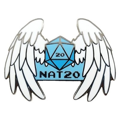 "Nat 20 [自然20 ] Critical Hit Gaming Dice Roll with Angel Wings – 1.25 ""エナメルピン"