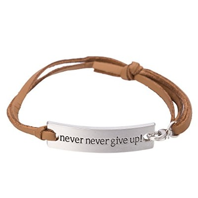 Inspritionalレザーブレスレットwith Words Never Give Up」、ファッションジュエリーメンズとレディース