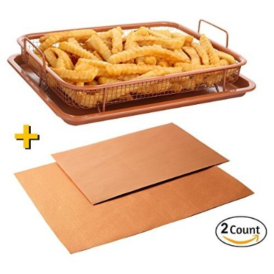 Copper Baking Sheet Air Fryer - Deluxe Multi-Purpose Copper Crisper Chef Pan Sheet with Non Stick...