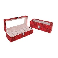 (Red 6 slots) - Yunan Watch Box Large 6 Men Women Leather Display Glass Top Jewellery Case...