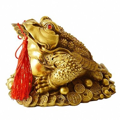 Brass Feng Shui Money Frog (Three Legged Wealth Frog or Money Toad) Statue + Set of 5 Lucky Charm...