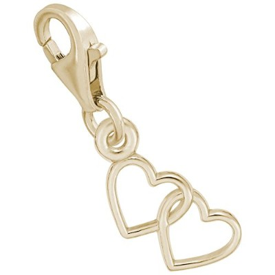 2Hearts Charm with Lobster Claw Clasp、チャームブレスレットとネックレス用