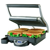 Ovente 4-Slice Digital Electric Panini Press Grill and Gourmet Sandwich Maker with Temperature...