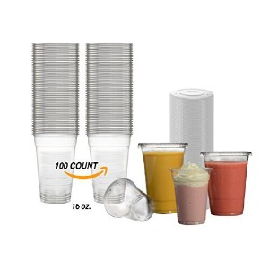 Disposables to Goクリスタルクリアペットプラスチック16オンスカップでフラットLids |100 Count | for Cold Drinks、アイスコーヒー、Smoothie...