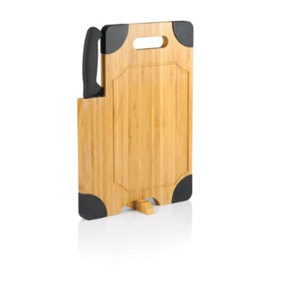 Picnic Time Culina Bamboo Cutting Board with Carving Knife, Black