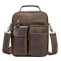 Zhhlinyuan First Cowhide Leather Zipper Shoulder Bag ショルダーバッグ Daypack Cross Body Bag Travel Chest...