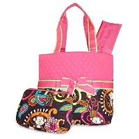 Pink Brown Monkey Quilted Diaper Bag with Changing Pad and Accessory Case - 3 Piece by NGIL
