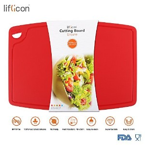 (Large-Red) - Liflicon Food Grade BPA Free Extra Large Silicone Cutting Board Flexible Nonslip...