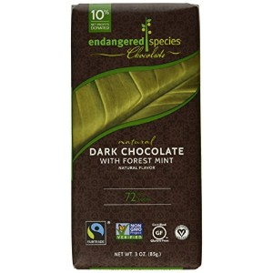 Endangered Species Natural Chocolate Bars - Dark Chocolate - 72 Percent Cocoa - Forest Mint - 3 oz...