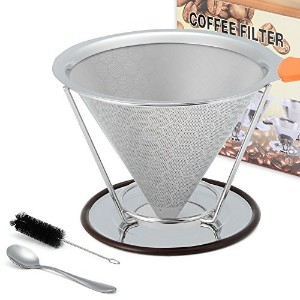 Pour Overコーヒーフィルタ、ステンレススチールDrip Cone Coffee Dripper with Double Layeredフィルタ–ペーパーレス&再利用可能な–Pour...
