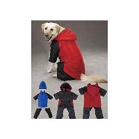 (L)Simply Silver - DOG SNOWSUIT SKI JACKET SNOW COAT SUIT w/ REMOVABLE LEGS AND HOOD /HOODED WINTER...