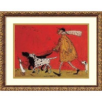 Walkies ' Framedアートプリントby Sam Toft Size: 21 x 17 (Approx), Matted レッド 3521236